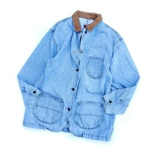 Vintage Denim Jean Brown Collar Oversized Jacket